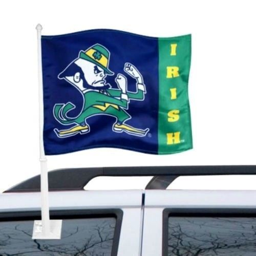 "NOTRE DAME FIGHTING IRISH CAR FLAG BANNER & POLE 2 SIDED 11"" X 15"" X POLE 20"" #1"