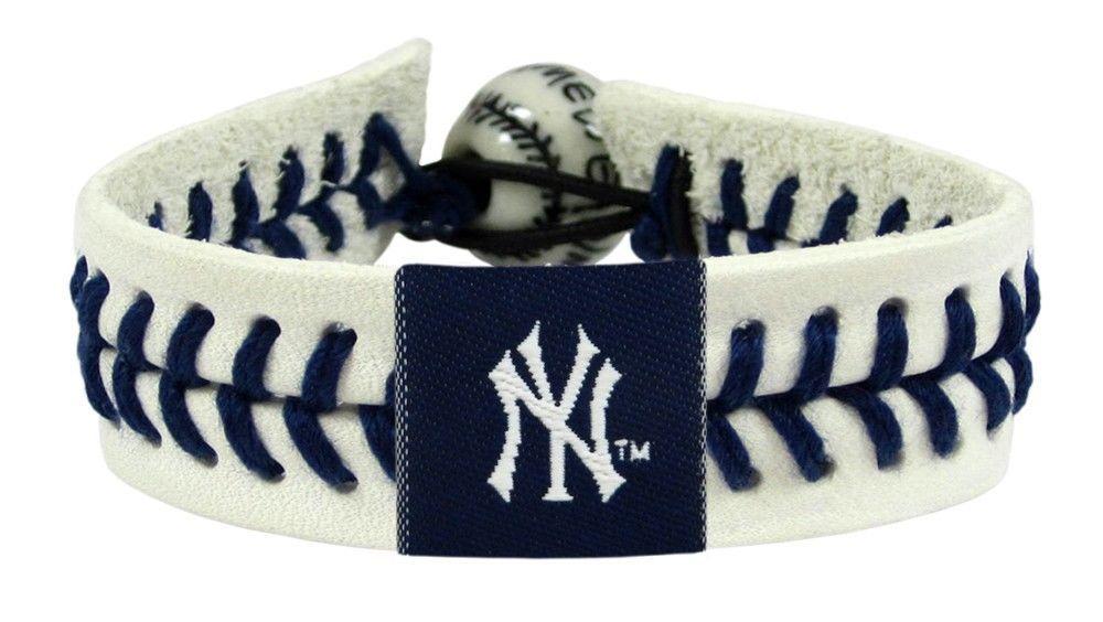 AUTHENTIC NEW YORK YANKEES BASEBALL LEATHER BRACELET MLB BASEBALL #1