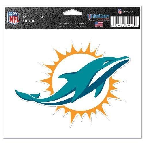 "MIAMI DOLPHINS TEAM LOGO ULTRA DECAL 5""X 6"" CLEAR WINDOW FILM  NFL FOOTBALL"