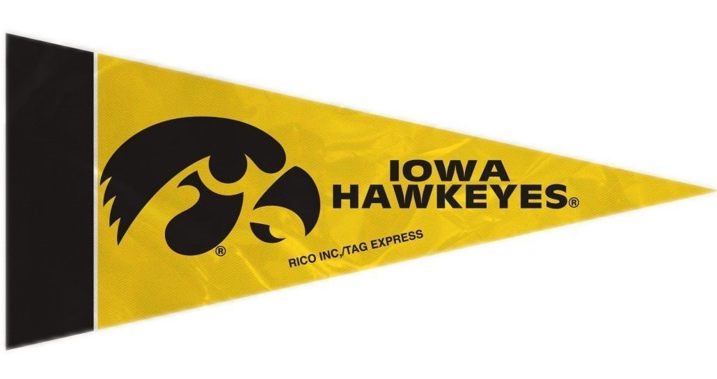 IOWA HAWKEYES 8 PIECE MINI PENNANTS SET PACK of FELT TEAM LOGO & COLORS