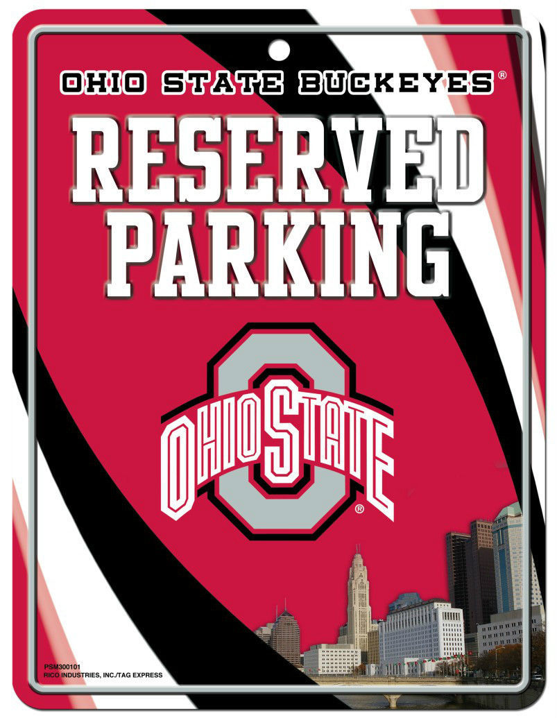"OHIO STATE BUCKEYES RESERVED PARKING METAL WALL SIGN 8.5"" X 11"" NCAA"