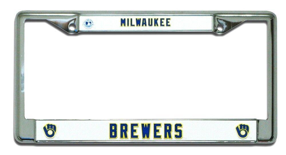 MILWAUKEE BREWERS CAR CHROME METAL LICENSE PLATE TAG FRAME RETRO MLB BASEBALL
