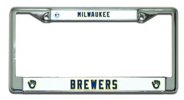 MILWAUKEE BREWERS CAR CHROME METAL LICENSE PLATE TAG FRAME RETRO MLB BAS... - $15.66