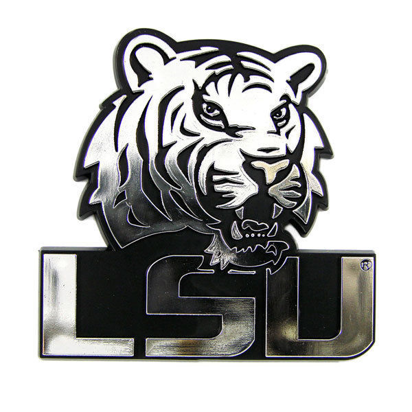 LSU TIGERS CAR AUTO 3-D CHROME SILVER TEAM LOGO EMBLEM