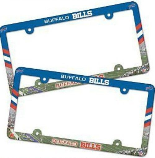 2 BUFFALO BILLS COLOR CAR AUTO PLASTIC LICENSE PLATE TAG FRAME NFL FOOTBALL
