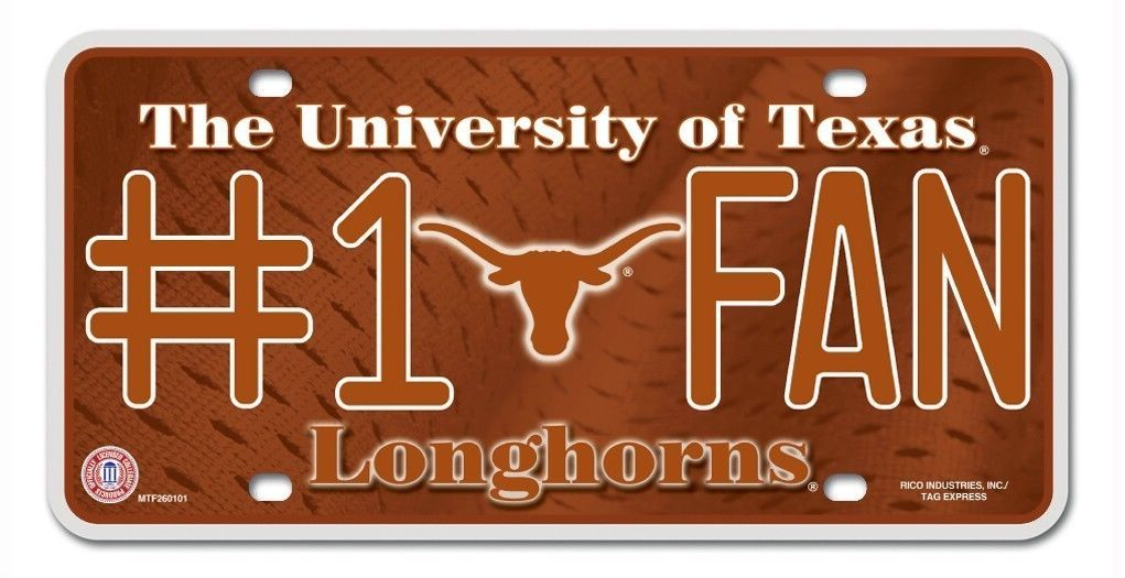 TEXAS LONGHORNS #1 FAN CAR / AUTO METAL LICENSE PLATE TAG