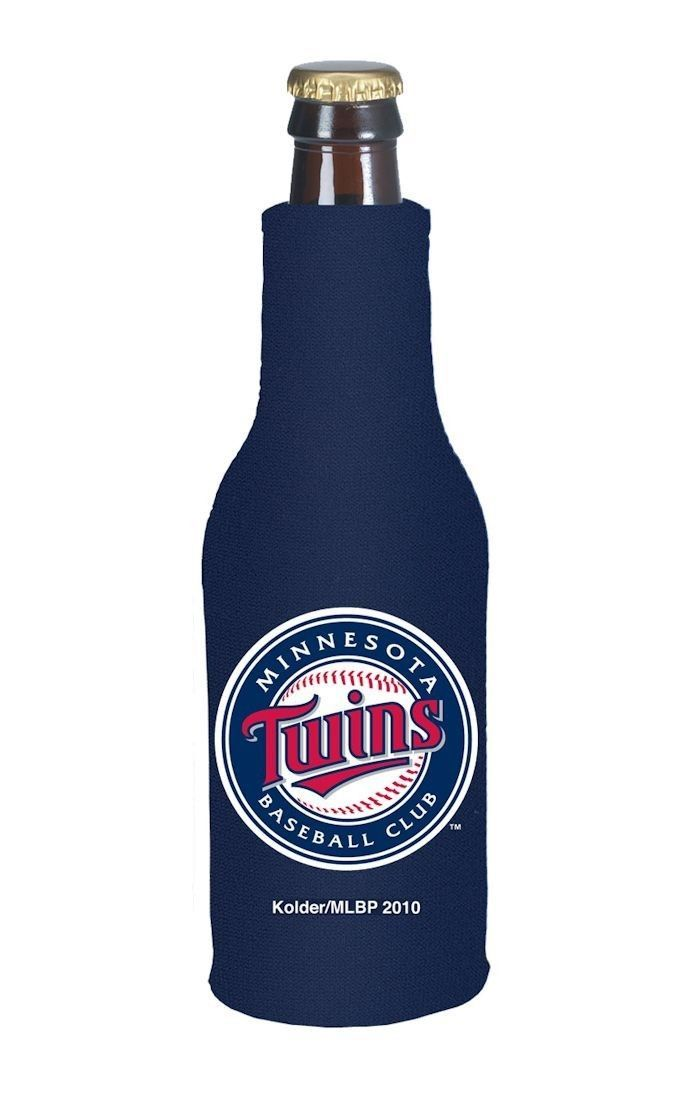 2 MINNESOTA TWINS BEER SODA WATER BOTTLE ZIPPER KOOZIE HOLDER MLB BASEBALL