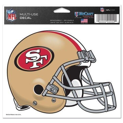 "2 SAN FRANCISCO 49ERS NFL FOOTBALL HELMET ULTRA DECAL 5""X6"" CLEAR WINDOW FILM"