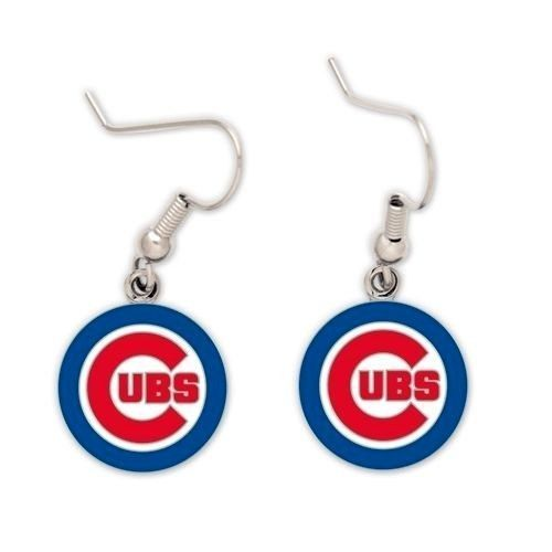 CHICAGO CUBS PAIR OF DANGLE EARRINGS TEAM LOGO PARTY TAILGATE MLB BASEBALL