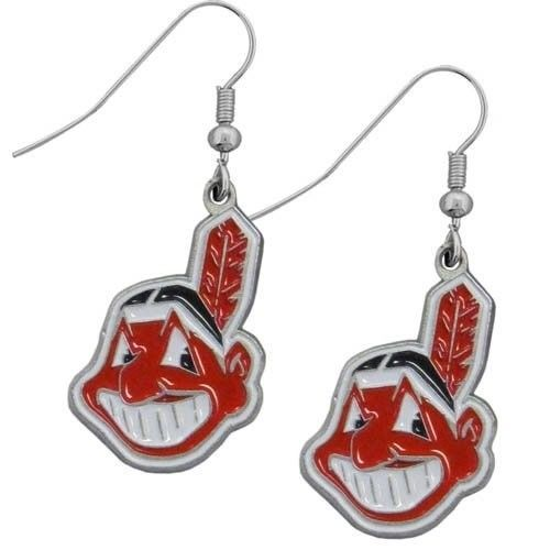CLEVELAND INDIANS PAIR DANGLE EARRINGS TEAM LOGO PARTY TAILGATE MLB BASEBALL