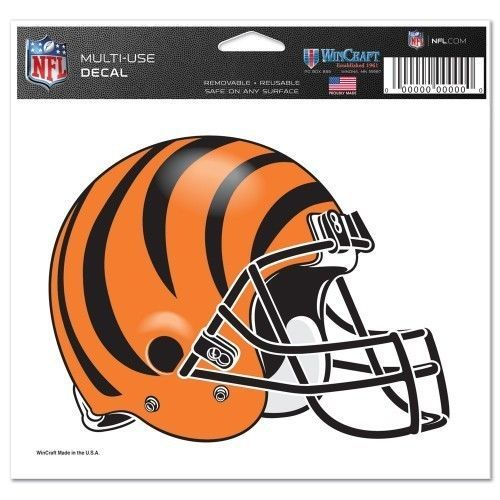 "2 CINCINNATI BENGALS NFL FOOTBALL HELMET ULTRA DECAL 5""X6"" CLEAR WINDOW FILM"