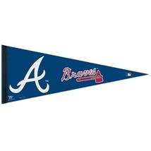 "2 BIG ATLANTA BRAVES TEAM FELT PENNANT 12""X30"" MLB BASEBALL SHIPS FLAT - $13.79"