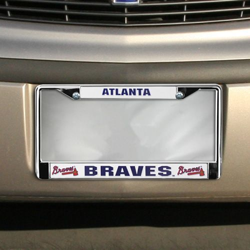 ATLANTA BRAVES CAR AUTO CHROME METAL LICENSE PLATE FRAME MLB BASEBALL