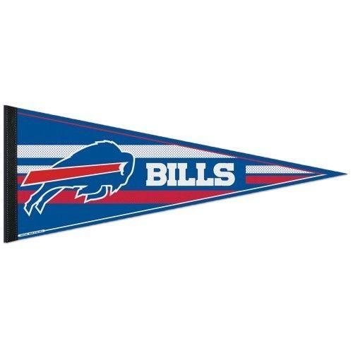 "2 BIG BUFFALO BILLS TEAM LOGO FELT PENNANT 12""X 30"" NFL FOOTBALL SHIPS FLAT!"