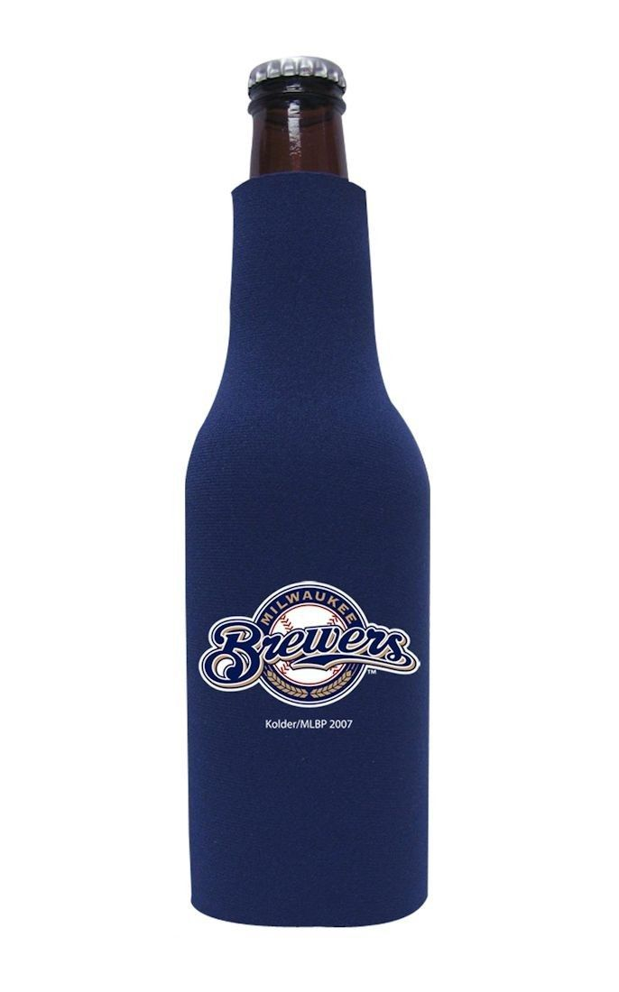 2 MILWAUKEE BREWERS BEER SODA WATER BOTTLE ZIPPER KOOZIE HOLDER MLB BASEBALL