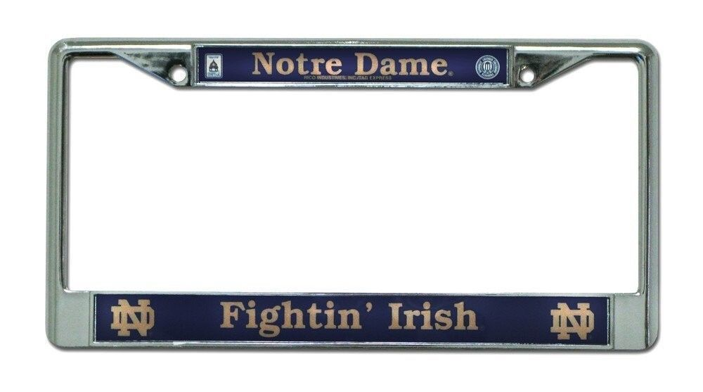 NOTRE DAME FIGHTIN' IRISH CAR AUTOMOBILE CHROME METAL LICENSE PLATE FRAME