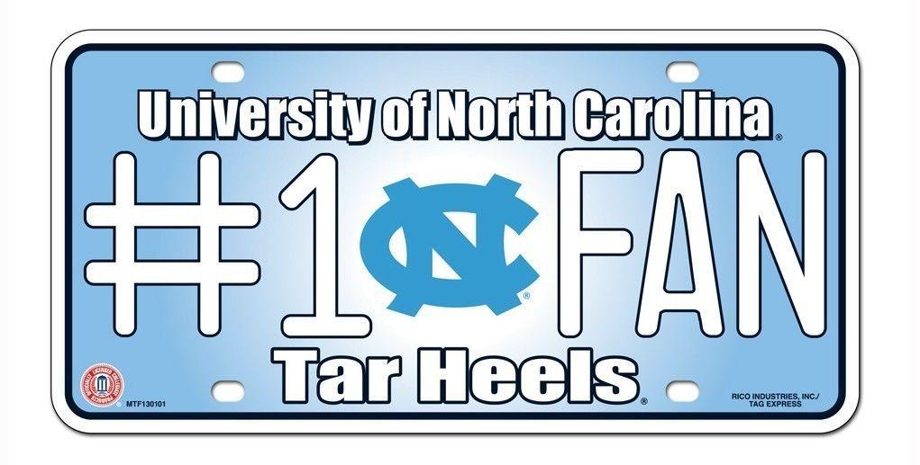NORTH CAROLINA TAR HEELS #1 FAN CAR / AUTO METAL LICENSE PLATE TAG