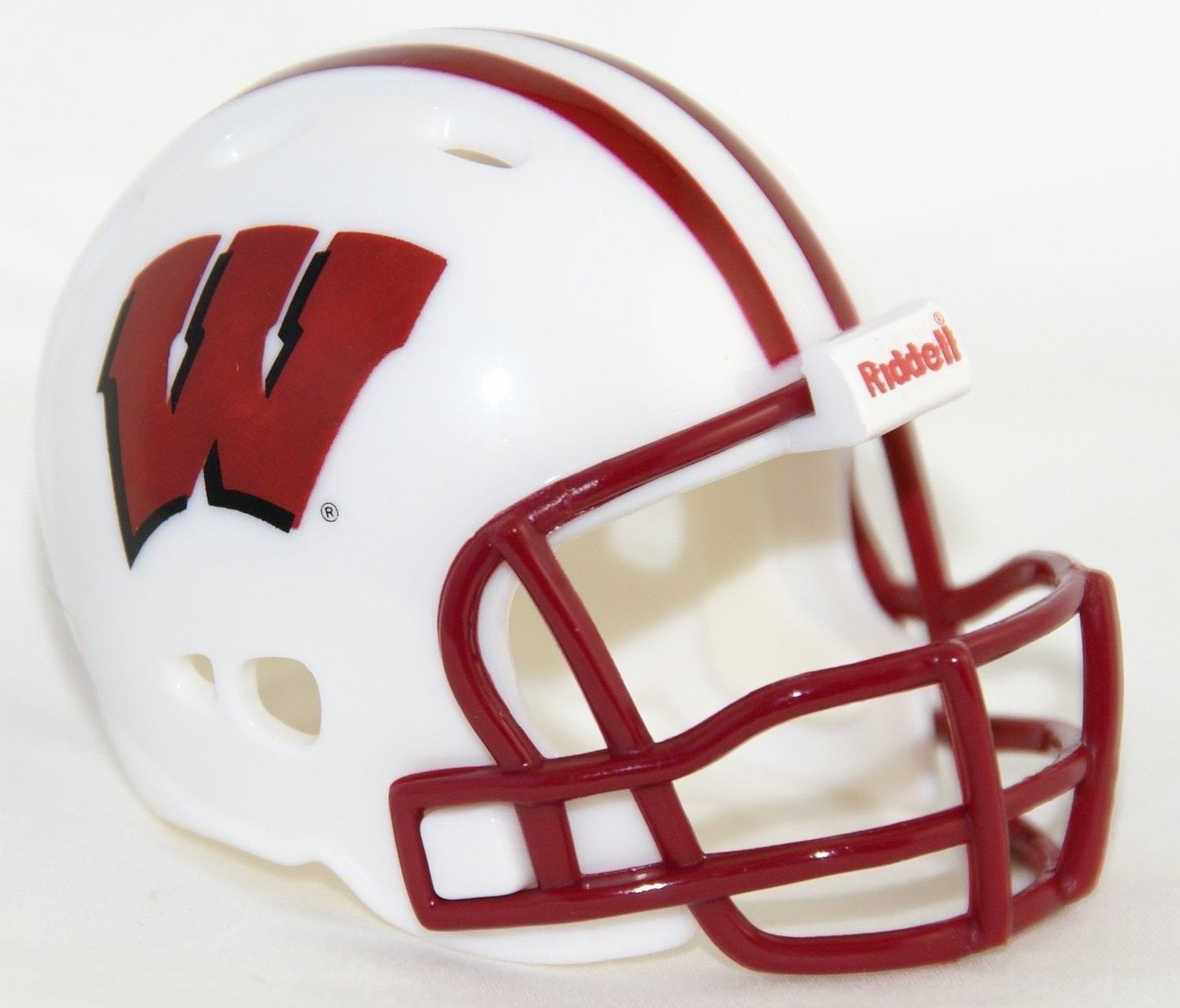 """2 WISCONSIN BADGERS POCKET PRO FOOTBALL HELMET 2"""" SIZE  Made By RIDDELL!"""