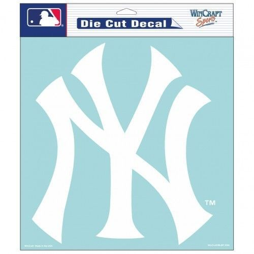 "NEW YORK YANKEES 8"" X 8"" CLEAR FILM WHITE LOGO DIE CUT DECAL MLB BASEBALL"