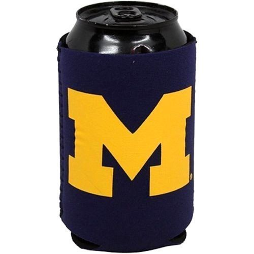 2 MICHIGAN WOLVERINES BEER SODA WATER CAN BOTTLE KOOZIE KADDY HOLDER