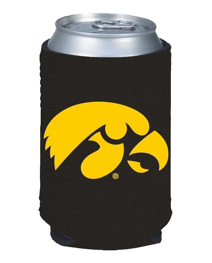 2 IOWA HAWKEYES BEER SODA WATER CAN BOTTLE KOOZIE KADDY HOLDER