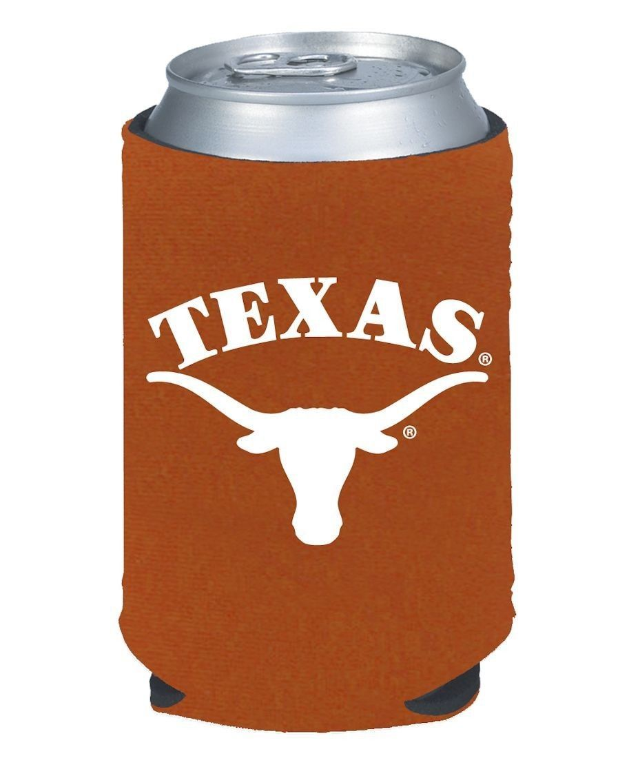2 TEXAS LONGHORNS BEER SODA WATER CAN BOTTLE KOOZIE KADDY HOLDER