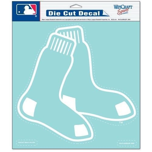"BOSTON RED SOX 8"" X 8"" CLEAR FILM WHITE LOGO DIE CUT DECAL MLB BASEBALL"