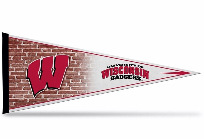 """2 BIG WISCONSIN BADGERS TEAM FELT PENNANT 12""""X 30"""" NCAA - SHIPS FLAT!"""
