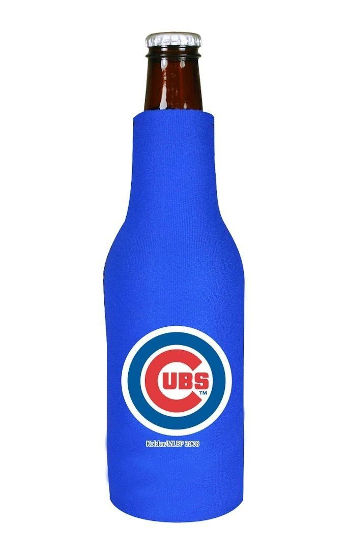 2 CHICAGO CUBS BEER SODA WATER BOTTLE ZIPPER KOOZIE HOLDER MLB BASEBALL