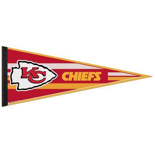 "2 BIG KANSAS CITY CHIEFS TEAM FELT PENNANT 12""X 30"" NFL FOOTBALL SHIPS FLAT !"