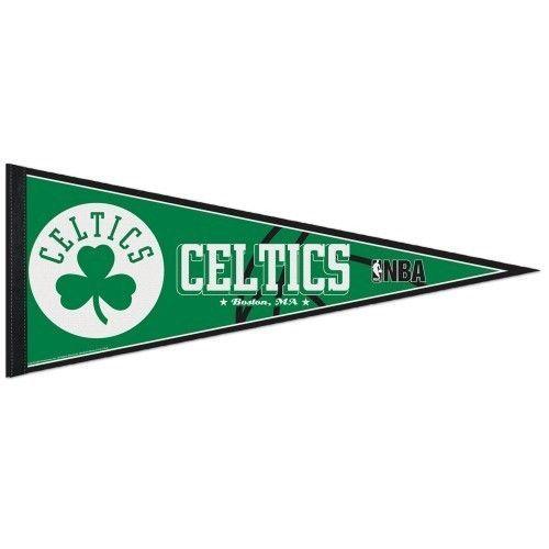 "2 BOSTON CELTICS TEAM FELT PENNANT 12""X30"" NBA BASKETBALL Ships FLAT in USA"