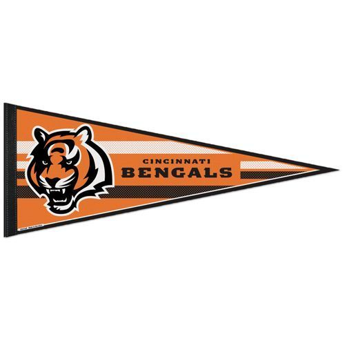 "2 BIG CINCINNATI BENGALS TEAM FELT PENNANT 12""X 30"" NFL FOOTBALL SHIPS FLAT !"