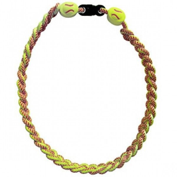 FREE SHIP SOFTBALL TITANIUM IONIC BRAIDED NECKLACE - ENHANCE PERFORMANCE