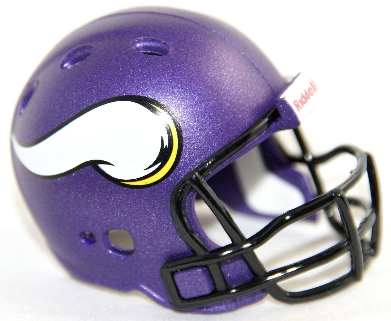 "2 MINNESOTA VIKINGS POCKET PRO NFL FOOTBALL HELMET 2"" SIZE  Made By RIDDELL!"