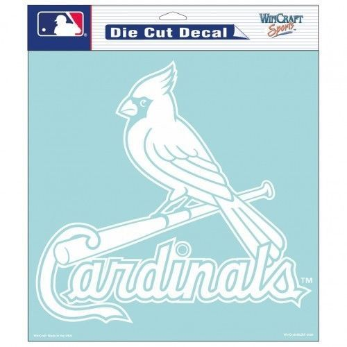 "ST. LOUIS CARDINALS 8"" X 8"" CLEAR FILM WHITE LOGO DIE CUT DECAL MLB BASEBALL"