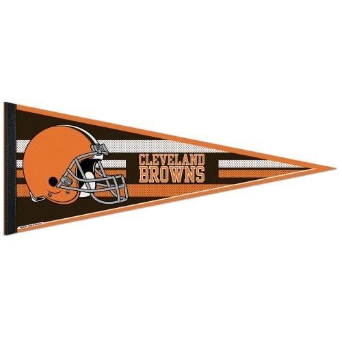 "2 BIG CLEVELAND BROWNS TEAM FELT PENNANT 12""X30"" NFL FOOTBALL SHIPS FLAT!"