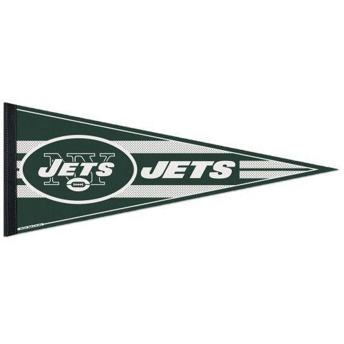 """2 BIG NEW YORK JETS TEAM FELT PENNANT 12""""X 30"""" NFL FOOTBALL SHIPS FLAT !"""