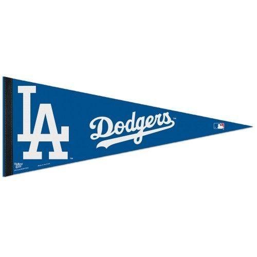 "2 BIG LOS ANGELES DODGERS TEAM FELT PENNANT 12"" x 30"" MLB BASEBALL Ships FLAT!"