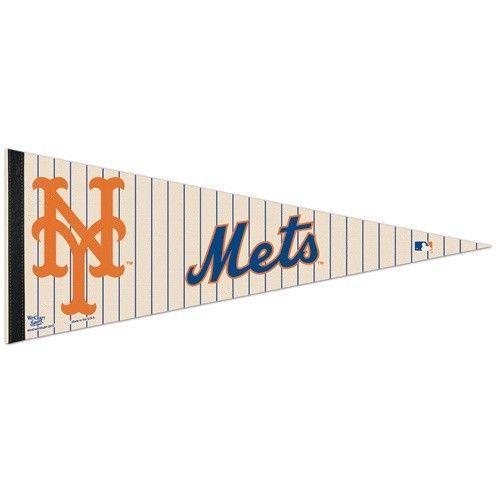 "2  NEW YORK METS TEAM FELT PENNANT 12"" x 30"" MLB BASEBALL *Ships FLAT*"