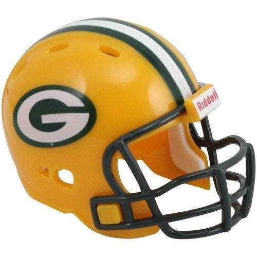 "2 GREEN BAY PACKERS POCKET PRO HELMET 2"" SIZE  Made By RIDDELL! NFL FOOTBALL"