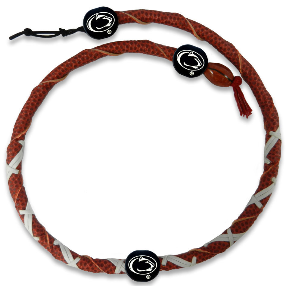 PENN STATE NITTANY LIONS GENUINE LEATHER SPIRAL FOOTBALL NECKLACE