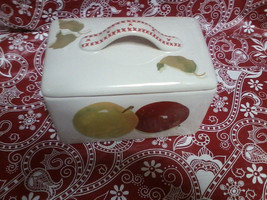 Hallmark Mitford Red Green Apple Canister  Rectangular Ceramic Box - $24.99