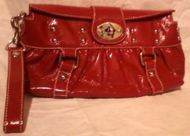 "Jessica Simpson  Red Wristlet Clutch Handbag PVC  Purse 7 1/2""x13""x2"" - $24.99"