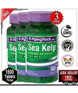 3x SEA KELP IODINE Source 225mcg Thyroid Energy Mood Supplement 1000 Cap... - $36.13