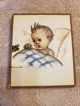 Wood Wall Art Plaque German Hummel Paper On Wood Child in Bed - $9.89