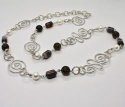 NECKLACE THE ALUMINIUM LONG 88 CM WITH CHALCEDONY QUARTZ WHITE PEARLS image 1