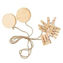 Unfinished Wood Photo Clothesline Display - 12 Clothespins hold 12 Pictu... - $6.09