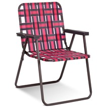 6 pcs Folding Beach Chair Camping Lawn Webbing Chair-Red - $170.07