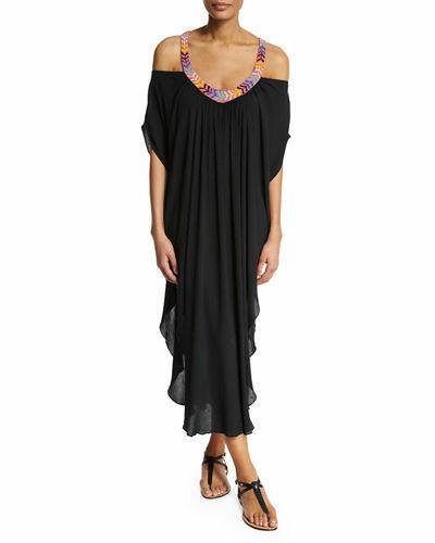 $348 MARA HOFFMAN ANTHROPOLOGIE BEADED BLACK LONG CAFTAN DRESS SIZE XS/S