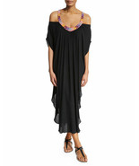 $348 MARA HOFFMAN ANTHROPOLOGIE BEADED BLACK LONG CAFTAN DRESS SIZE XS/S - $98.99